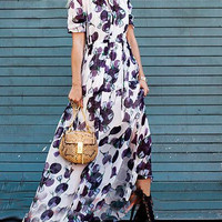 White Floral Print High Waisted Maxi Dress