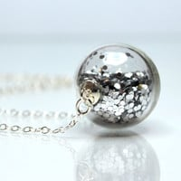 Silver glitter necklace round blown glass silver necklace
