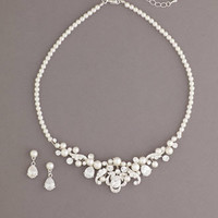 Pearl Set Accented with Oval Shaped Crystals - David's Bridal
