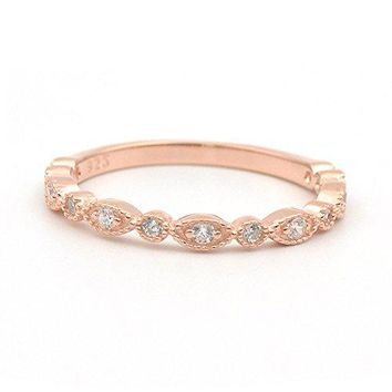 espere Milgrain Marquise amp Round Cubic Zirconia Eternity Ring Stacking Infinity Wedding Band Sterling Silver Platium Plated Rose Gold Plated Size 49