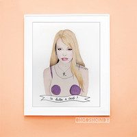 Regina George from Mean Girls watercolour portrait PRINT Rachel McAdams