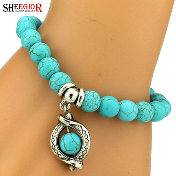 Turquoise Beads Bracelet Fashion Jewelry Vintage silver plated Charm