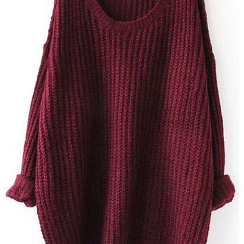 Fall Fashion Red Batwing Oversized Long Sleeve Loose Knit Sweater