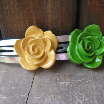 Rose hair clip,set of 2 hair clips,green and yellow hair clip