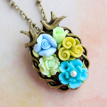 Polymer Clay Pendant, blue rose pendant, Green Hand Made Necklace, Polymer Clay Inlay Jewelry, 3D Flower Pendant, Gift For Her