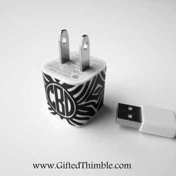 Zebra Monogram Iphone Charger Decal / Iphone Charger Wrap