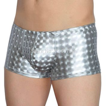 Men's  Underwear Bulge Pouch Trunks Square Cut Short Pants Shiny Sexy Guys Faux 3D Leather Like Boxer