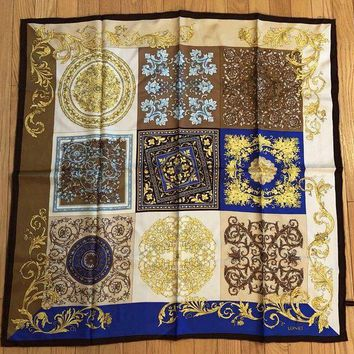 ONETOW Auth Versace Baroque Yellow Brown Blue 100% Silk Scarf
