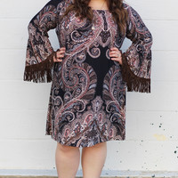 Just Fringin' Around Dress {Curvy}