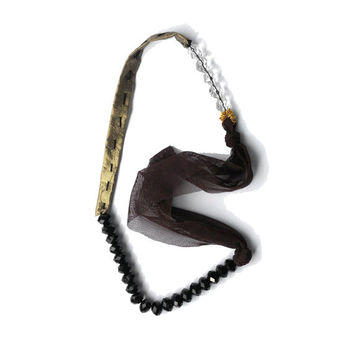 Fabric necklace  gold  black  and brown one of a kind - PreciousLines collection