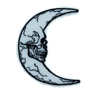 Crescent Moon Skull Luna Patch Iron on Applique Alternative Clothing Astrology Witchcraft