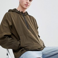 ASOS DESIGN overhead windbreaker in khaki at asos.com