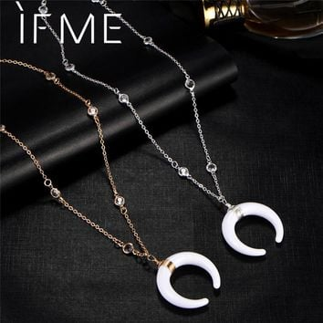 White Horn Pendant Necklaces for Women