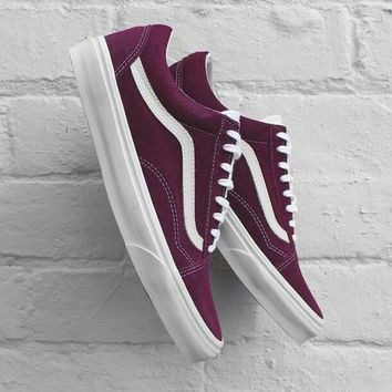 Fashion Online Vans With Warm Casual Shoes Men And Women Classic Black Cloth Shoes Wine Red