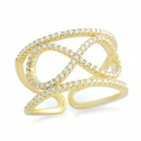 Mariel's .925 Sterling Silver Gold Plated Pave Cubic Zirconia Infinity Cuff Ring