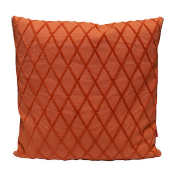 Geometric Pillow 18x18, decorative couch pillow cover handmade from vintage upholstery fabrics by EllaOsix in dark salmon orange