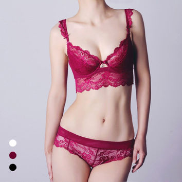 Lace Cup Sexy Bra Set Ladies Underwear [6756004995]