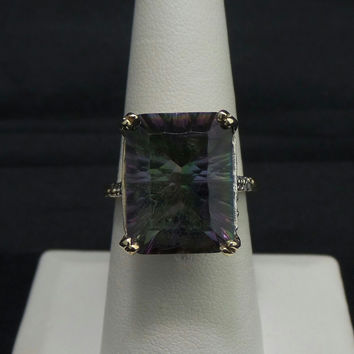 Vintage 14K Yellow Gold 15.34 ct Mystic Topaz Diamond Cocktail Ring - Size 7.5