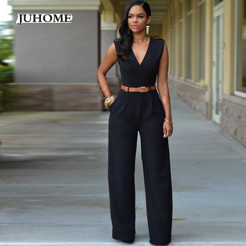 party jumpsuit for women 2017 Summer Female playsuit overalls black dungarees body femme sexy Elegant Long wide leg work clothes