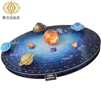 Educational toy 1pc creative solar system Nine planets learning 3D paper DIY jigsaw puzzle model kits children boy gift toy