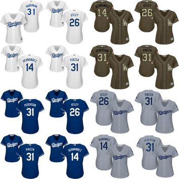 women 14 Enrique Hernandez 31 Joc Pederson 26 Chase Utley 31 Mike Piazza Los Angeles Dodgers Baseball Jersey stitched size S-2XL