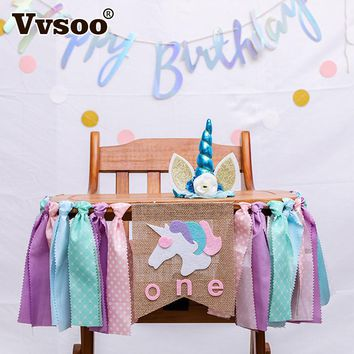 Vvsoo Cartoon Unicorn Party Banner Set One Year Old Birthday Party Decoration Baby Shower Kids Bunting Unicorn Party Supplies