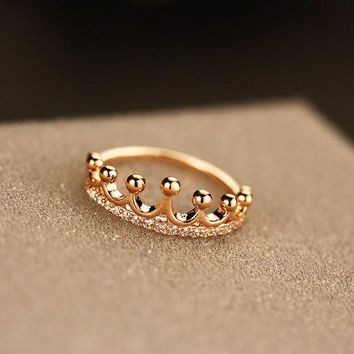 LMFON Stylish Jewelry New Arrival Shiny Gift Simple Design Crown Ring [11045346196]
