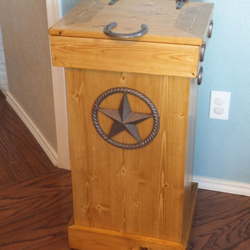 Wood trash can, Storage bin