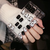 Classical Daily Wear Designed Fake Nails Black White Ink Drawing Press On Nails Square Head Design Manicure Tool 24pcs/kit Z349
