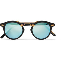 KREWE - St. Louis round-frame matte-acetate and gold-tone mirrored sunglasses