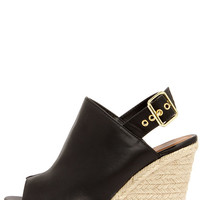 Dockin' Out Black Peep Toe Espadrille Wedges