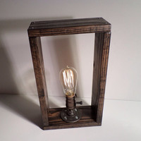 Classic Edison lamp - bookshelf end/Table Desk lamp - Antiqued finished wood frame - Steam punk style light - New york loft industrial style