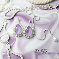 Swarovski Crystal Bridal Earrings, Pear, Lever Back, Lilac, Halo Crystal, 18X13mm, DKSJewelrydesigns, FREE SHIPPING