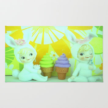 Bunnies with ice cream Area & Throw Rug by Vintage  Cuteness