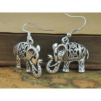 Free Shipping - Antique Silver Plate Turkish elephant Earrings