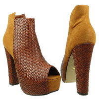 Womens Ankle Boots Weaved Leather and Suede Chunky Platform Shoes Brown SZ