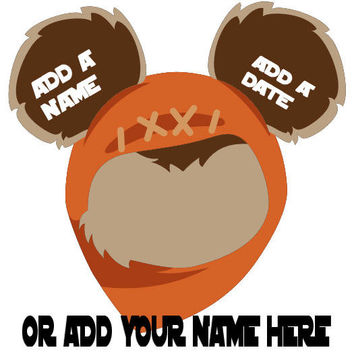 Star Wars Ewok Personalized w/ Name/Date Mickey Mouse Head Disney Vacation Birthday Printable Iron On Transfer DIY Clipart