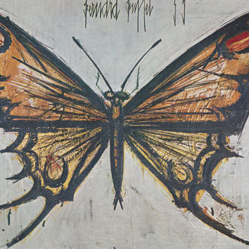 "Vintage French Postcard -- Bernard Buffet ""Papillon"" -- 1962"