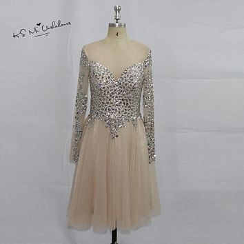Robe Cocktail Courte Chic Sexy Champagne Short Cocktail Party Dresses Long Sleeve Prom Dress Crystals Tulle Backless Rhinestones