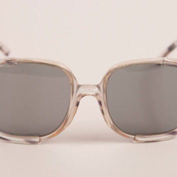 Vintage 70s French sunglasses / unisex style / big square frames with black and clear pattern / retro and groovy