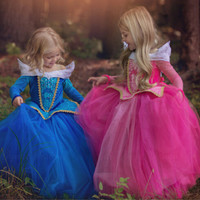 Princess Girl Elsa Dress Sleeping Beauty Halloween Girl Aurora