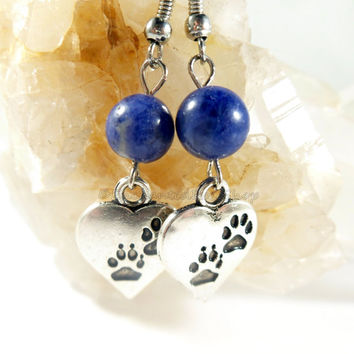 Blue Lapis Lazili Earrings, Dog Paw Charm Earrings, Boho Chic Dog Lover Gift, Hippie Gypsy Dangle Earrings, Paw Earrings, Blue Earrings