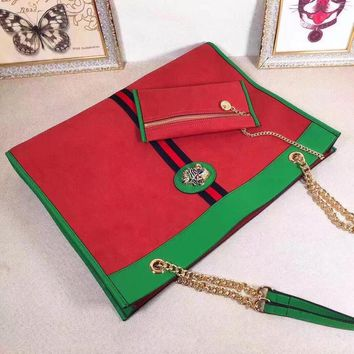 KUYOU G002 Gucci Leather Fashion Tiger 45-35-6cm Handbag Red Green