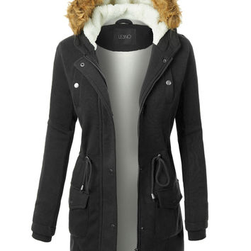LE3NO Womens Long Fleece Faux Fur Lined Hoodie Parka Coat Jacket with Pockets