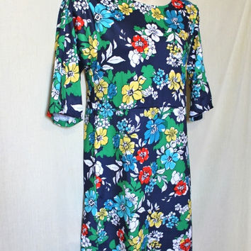 Blue 60s Shiftdress Vintage Floral Dress Plus Size Women Flower Pattern Spring