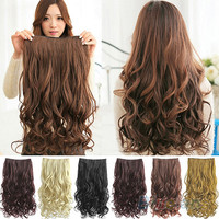 Full Head Clip Curly/ Wavy Women Synthetic Hair Extension