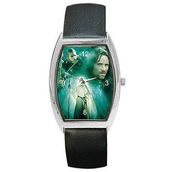 Lord of the Rings Legolas, Aragon & Gandalf on a Barrle Watch w/ Leather Bands