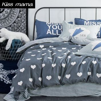 Cotton Bedding Set King heart Gray Duvet Cover Set,linens Russia USA Size ,contain Duvet Cover Sheet PillowCase,Customized