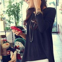 $ 19.19 Ericdress Leisure Asymmetric Hem Long Sleeve T-Shirt