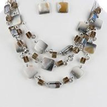 Iridescent Glass Bead Three Layer Bib Pearl Finish Stone Necklace And Earring Set